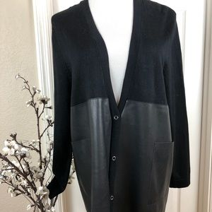 Cardigan blackWith faux leather NWOT